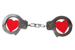 Cuffed hearts. Two cuffed hearts isolated on white background Royalty Free Stock Images