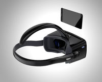 Cuffia avricolare nera e smartphone di VR isolati su fondo grigio Fotografie Stock Libere da Diritti