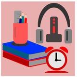 Cuffia e sveglia del righello della matita e del libro fotografie stock libere da diritti