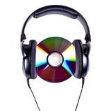 Cuffie ad alta fedeltà e disco CD Fotografia Stock Libera da Diritti