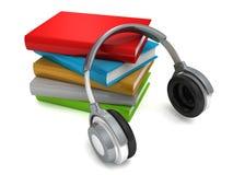 Cuffie con i libri. concetto del audio-book Illustrazione di Stock