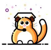 Cuffie e microfono d'uso del gatto Gruppo di servizio di sostegno Seli metta in contatto con Linea stile piana Illustrazione di v Fotografia Stock Libera da Diritti
