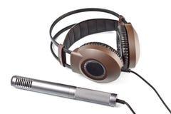 Cuffie e microfono vocale Immagine Stock Libera da Diritti