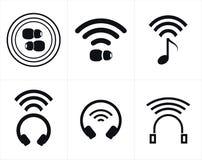 Cuffie ed icone senza fili di Earbud Immagine Stock