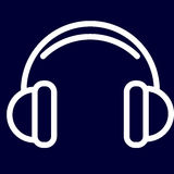 Cuffie o icona di musica dei profili di bianco dell'insieme Fotografia Stock Libera da Diritti