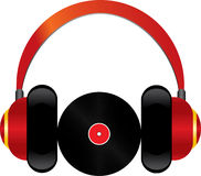 Cuffie rosse con il disco del vinile Immagine Stock Libera da Diritti