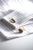 Cufflinks. On formal shirt close up Stock Image