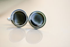 Cufflinks with black stone royalty free stock photos