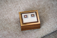 Cufflinks in a box Stock Photography