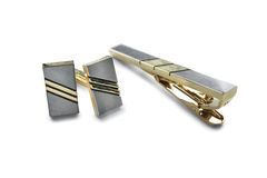 Cufflinks and tie clip Stock Images