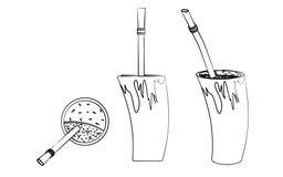 Cuia avec l'eau, le compagnon de Bombilia, et de Yerba pour le terere Style de klaxon Le contour aiment des traçages illustration stock