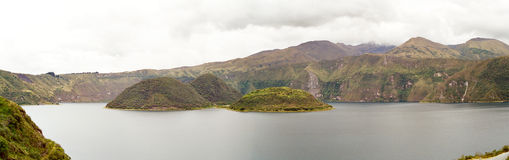 Cuicocha Lake, Ecuador. Lake Cuicocha in the crater of a Volcano with 3 green islands, Otavalo, Ecuador stock image