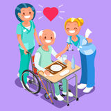 Cuida al grupo de los doctores Team Isometric People Imagen de archivo libre de regalías