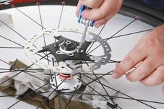 Cuidado da bicicleta Fotografia de Stock