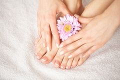 Cuidado da mão e do prego Pés e mãos bonitos do ` s das mulheres após o tratamento de mãos e o pedicure no salão de beleza Tratam fotografia de stock royalty free