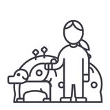 Cuidado de animales domésticos, perro con la mujer, línea icono, muestra, ejemplo del vector del cuidado animal en el fondo, movi ilustración del vector