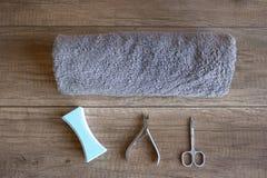 Cuidado de la mano Manicura y herramientas de la manicura Procedimiento del balneario para las manos de la belleza Belleza y conc imagenes de archivo