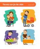 Cuidado de los padres para el niño Imagen de archivo libre de regalías