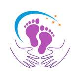 Cuidado de pie y logotipo de la salud imágenes de archivo libres de regalías