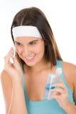 Cuidado de piel del problema del adolescente - la mujer limpia Imágenes de archivo libres de regalías