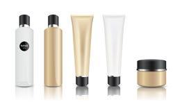 Cuidado de piel/vector realista cosmético de la botella y del tubo Foto de archivo libre de regalías