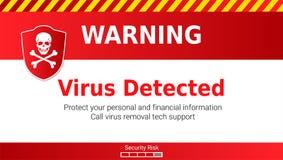 Cuidado del ataque de Malware, virus detectado Cráneo y huesos cruzados en el escudo rojo Mensaje que requiere su atención stock de ilustración