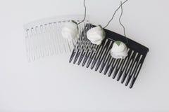 Cuidado del cabello Accesorios y decoraciones Dos conchas de peregrino para el pelo son transparentes y negras en color Las flore Imagen de archivo libre de regalías