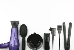 Cuidado del cabello fijado en el fondo blanco Fotos de archivo