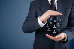 Concepto del cuidado del cliente o de los empleados Fotos de archivo libres de regalías
