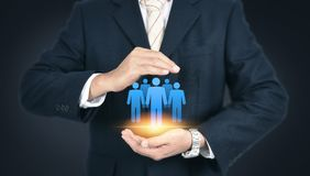 Cuidado del cliente, cuidado para los empleados, sindicato, CRM, y vida adentro foto de archivo