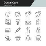 Cuidado dental, prevenci?n, controlar e iconos dentales del tratamiento L?nea moderna dise?o Para la presentaci?n, dise?o gr?fico libre illustration