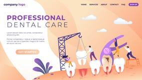 Cuidado dental profesional que pone letras a la bandera plana libre illustration
