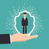 Cuidado do cliente, retenção ou conceito da lealdade O homem de negócios em uma mão guarda o cliente Imagem de Stock