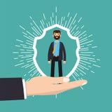 Cuidado do cliente, retenção ou conceito da lealdade O homem de negócios em uma mão guarda o cliente Fotos de Stock Royalty Free