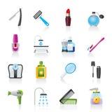 Cuidado do corpo e ícones dos cosméticos Fotos de Stock