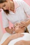 Cuidado do corpo - massagem facial luxuosa da mulher fotos de stock royalty free
