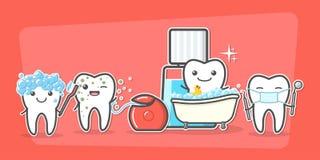 Cuidado dos dentes dos desenhos animados e conceito da higiene ilustração do vetor