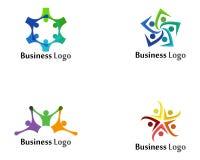 Cuidado dos povos do logotipo da comunidade e molde dos símbolos ilustração stock
