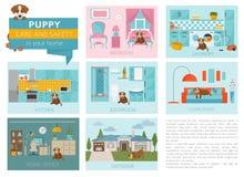 Cuidado e segurança do cachorrinho em sua casa Formação do cão de estimação infographic ilustração royalty free