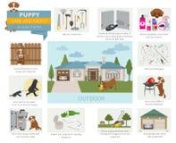 Cuidado e segurança do cachorrinho em sua casa outdoor Treinamento do cão de estimação dentro ilustração royalty free