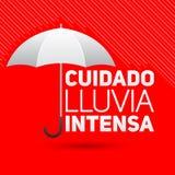 Cuidado lluvia intensa, Be careful heavy rain spanish text. Vector sign - eps available Stock Photos