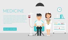 Cuidado médico Bandera horizontal médica Una enfermera o un doctor en la clínica y el paciente dispensador de aceite Diseño plano Imágenes de archivo libres de regalías