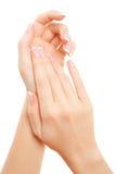 Cuidado para las manos de la mujer Imagen de archivo libre de regalías
