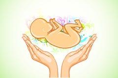 Cuidado para o feto fêmea ilustração stock