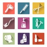 Cuidado personal de los iconos planos Fotografía de archivo libre de regalías