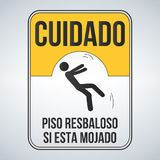 cuidado piso resbaloso si esta mojado. Caution Wet Floor spanish sign, yellow sign with falling man in modern style. Isolated vect Royalty Free Stock Image