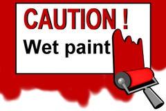 Cuidado - sinal de aviso molhado da pintura Fotografia de Stock Royalty Free