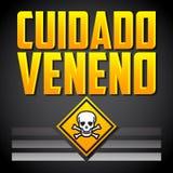 Cuidado Veneno - texto de advertência do espanhol do veneno ilustração royalty free