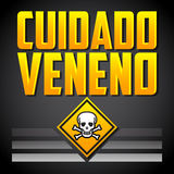 Cuidado Veneno - varnande giftspanjortext Fotografering för Bildbyråer