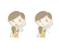 Cuidados capilares da axila da mulher antes em seguida ilustração royalty free